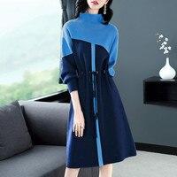 2019 новые женские весенне осенние темпераментные полувысокий воротник небольшой аромат ветер вязаное платье женское зимнее платье свитер