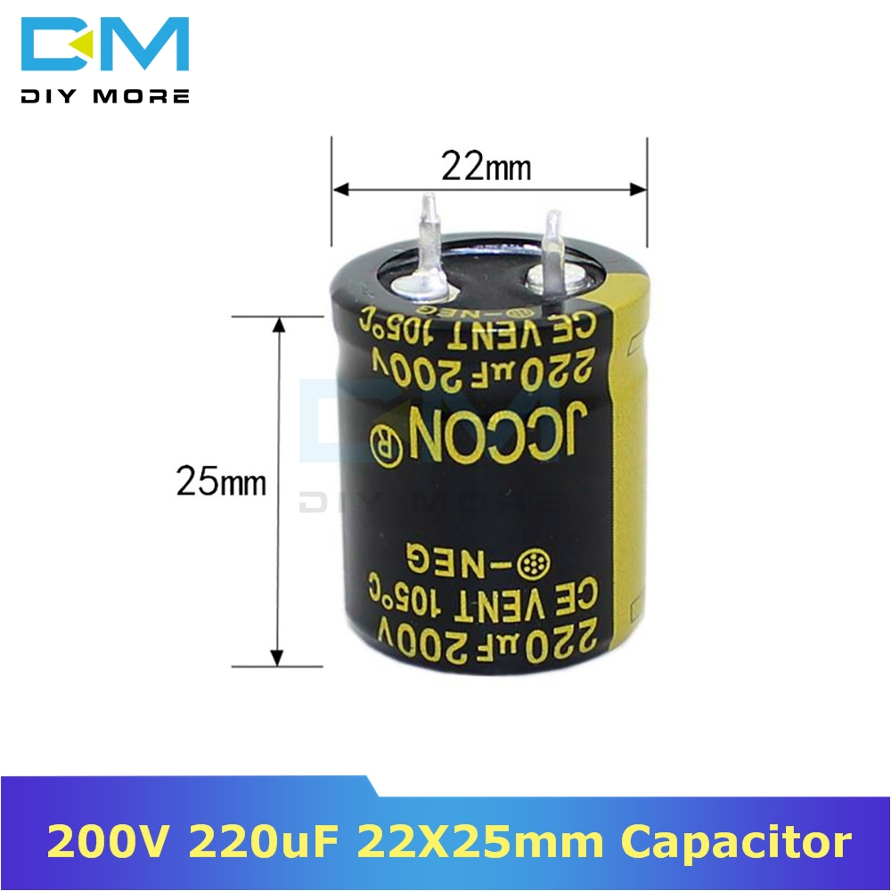 <font><b>200V</b></font> <font><b>220uF</b></font> 22X25mm 22X25 Aluminum Electrolytic Capacitor High Frequency Low impedance Through Hole Capacitor 22*25mm diymore image