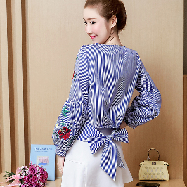 Embroidered women shirt bow striped Long sleeves blouses