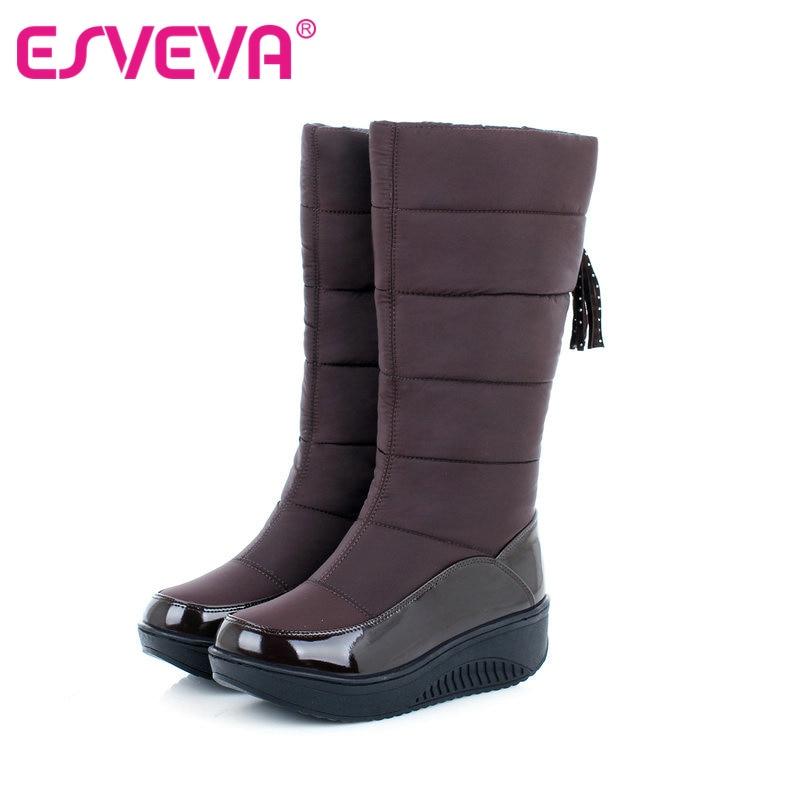 ESVEVA Cold Winter Warm Plush Snow Boots Fashion Platform Women Shoes Flat Heel Brown Mid-Calf Boots Women PU Boots Size 34-40
