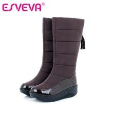 ESVEVA теплые плюшевые сапожки для холодной зимы модная женская обувь на платформе плоская подошва коричневый цвет высота до середины икры дамские сапожки из PU искусственной кожи размеры 34–40
