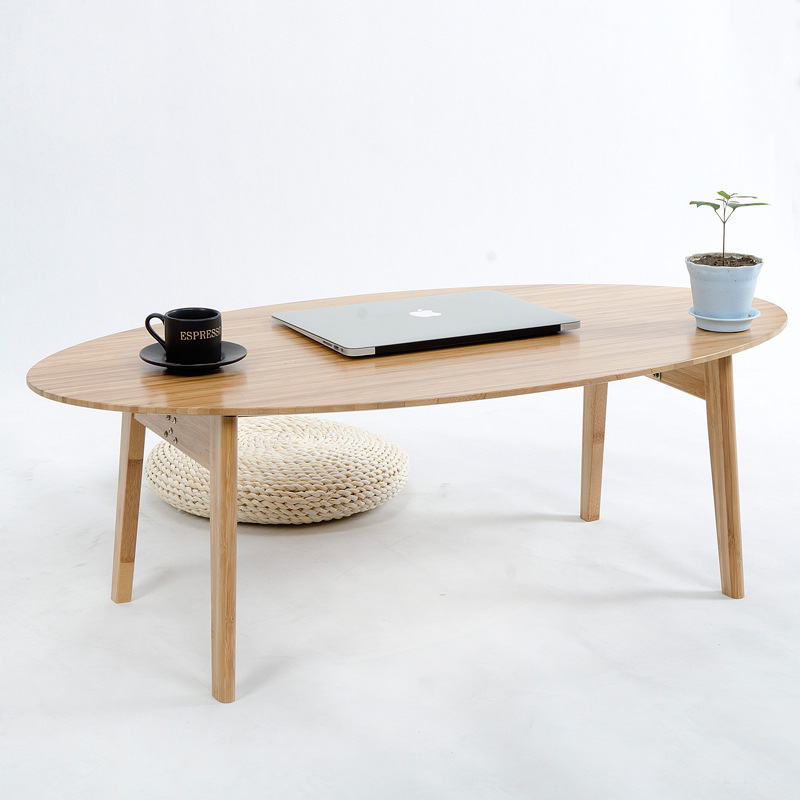 Modern Small Oval Bamboo Coffee Tea Table Folding Sofa Side Table Casual Tatami Desk Nordic Living Room Hotel Decoration flavor peanut bamboo casual small packing small snacks 218