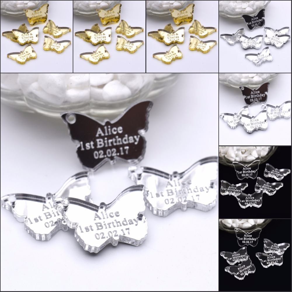 30 Pcs Personalized Engraved Mirror / Clear Acrylic Butterfly Centerpieces  Wedding Table Decoration Favors Customized Size
