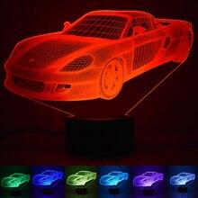 Крутая Автомобильная акриловая 3D лампа с голограммой 7 цветов Изменение ночного света детский сенсорный выключатель цветные огни Светодиодный usb настольная лампа атмосферная лампа
