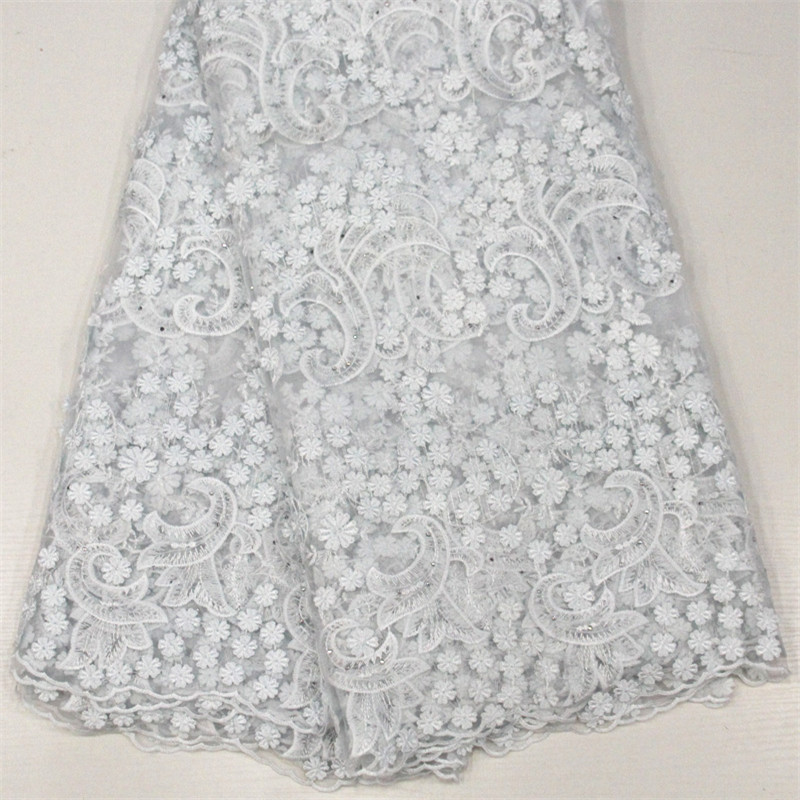 African French Lace Fabric High Quality Pure White African Tulle Lace Fabric For Wedding Stones French Lace Fabric HJ1448-1   African French Lace Fabric High Quality Pure White African Tulle Lace Fabric For Wedding Stones French Lace Fabric HJ1448-1