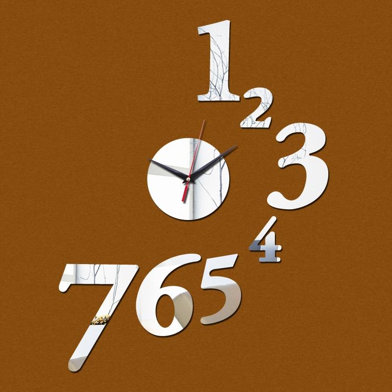2015 nova promoção mirorr de acrílico relógio de parede arte casa decoração moderna diy relógio adesivo decoração shing livre