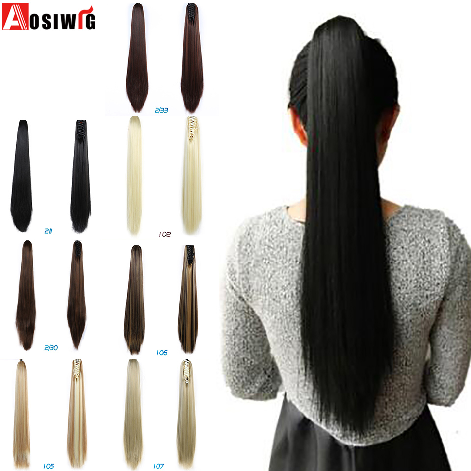 AOSIWIG 24'' Synthetic Ponytail Long Straight Hair Natural Fake Hair Tail Hairpieces Women Hairstyles Heat Resistant Fake Hair