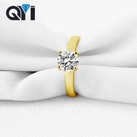 QYI Luxury Fashion 14K Jewelry Ring Ladies 1 Carat Round Cut Zircon 14K Solid Yellow Gold Wedding Engagement Rings