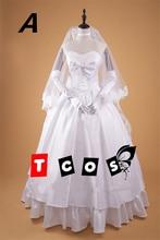 2 colours Fate Zero Saber 10th anniversary party Saber Wedding Dress Halloween Cosplay Costume Woamn Custom-made