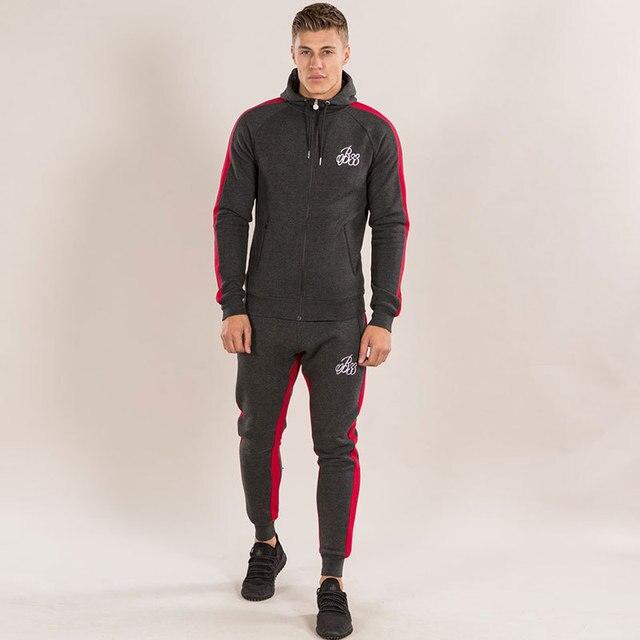 7f5eca39 Mens Bodybuilding Skin Tight Long Sleeves Hoodie Slim Fit Sweatshirt  Hoodies(Hooded Sweatshirt+Long Pants) Zipper Leisure Suits