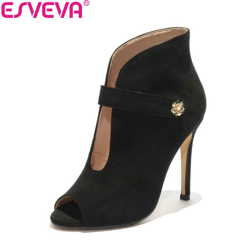 ESVEVA 2018 Women Pumps Western Style Shoes Thin High Heels Spring and Autumn Peep Toe Women Pumps Shoes Sewing Size 34-43 2017 free shipping siketu spring and autumn women shoes sex high heels shoes wedding shoes pumps g194