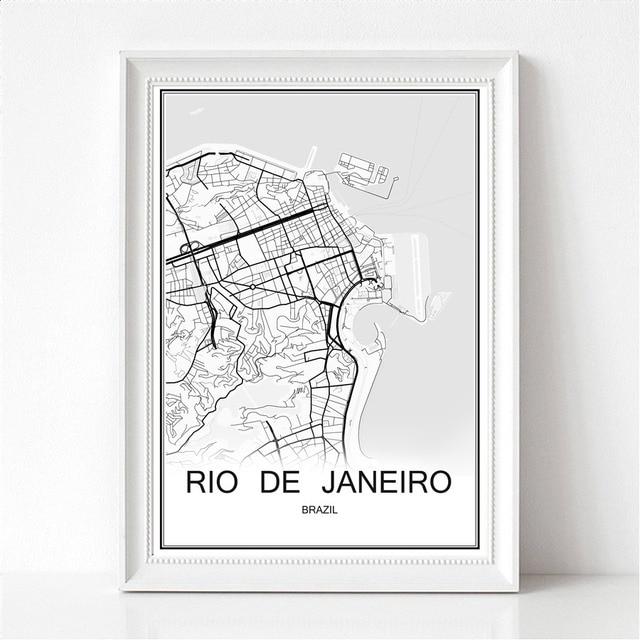 World City Map RIO DE JANEIRO Brazil Print Poster Abstract Coated