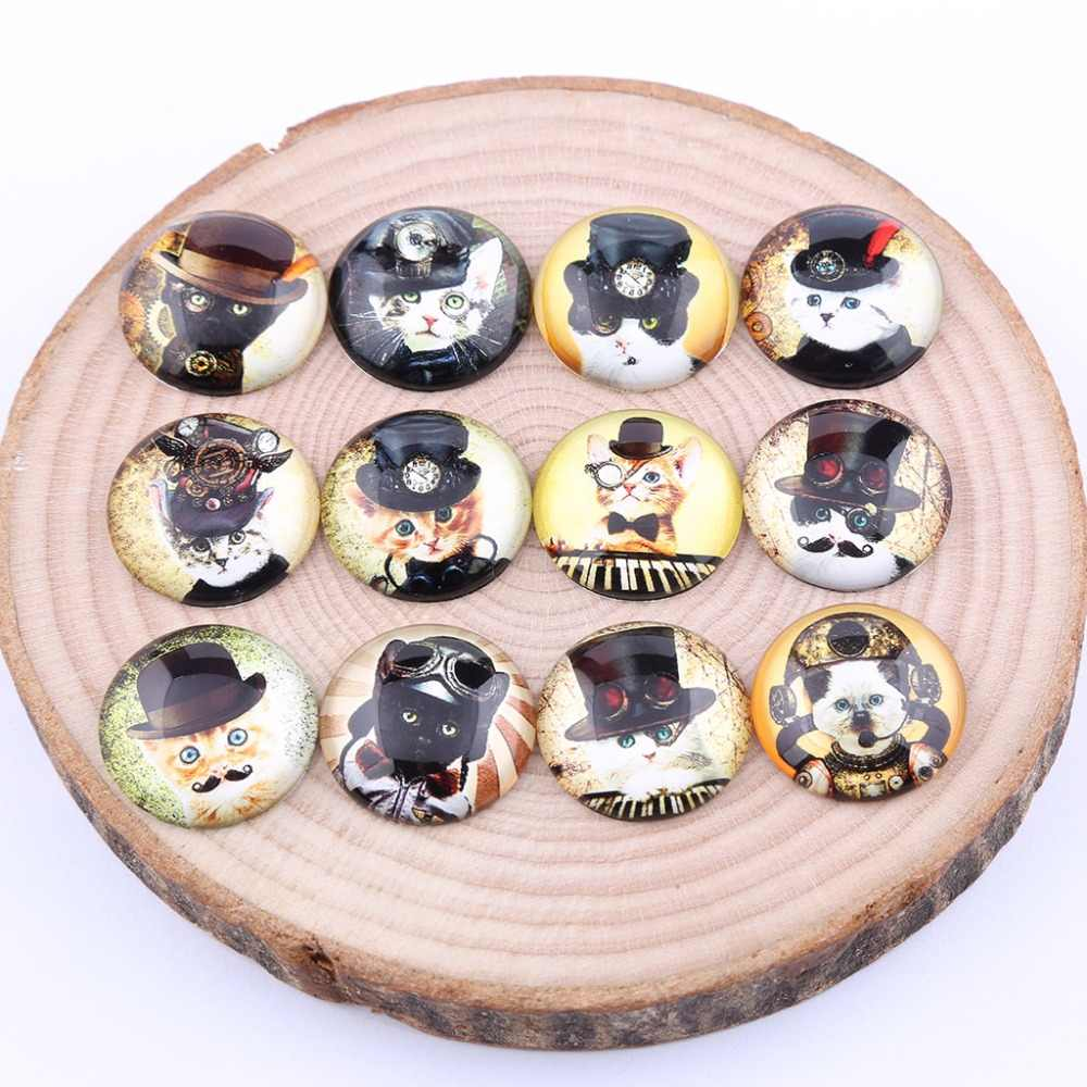 reidgaller mix steampunk cat photo round glass cabochon 25mm 20mm 12mm diy flat back jewelry findings for pendants making