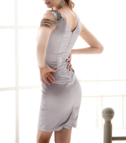 f7227f3264 WF 0163 NEW FASHION V NECK SLEEVELESS BODYCON PARTY DRESS CHEST PADS  INCLUDE GRAY-in Dresses from Women s Clothing on Aliexpress.com