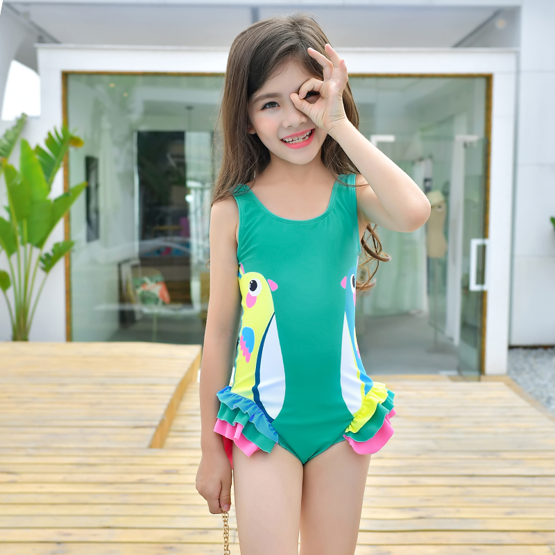 Girls Swimwear Cute Kids Swimsuit with Swimming Cap Duck ...