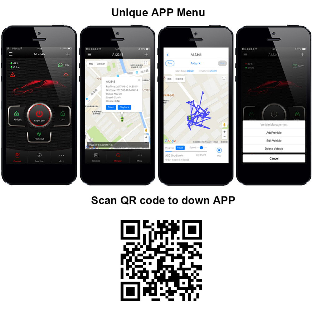 Système de sécurité d'alarme de voiture universel Android CARBAR IOS traqueur GPS GSM entrée sans clé verrouillage Central APP démarrage à distance - 2