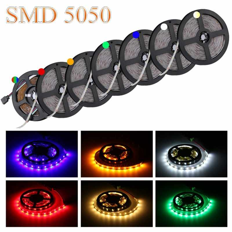 SMD 5050 DC12V 60 LED/M 2 M 5 M Fleksibel Tahan Air Lampu LED RGB RGBW White Warm White 5050 Taman LED Strip Lampu