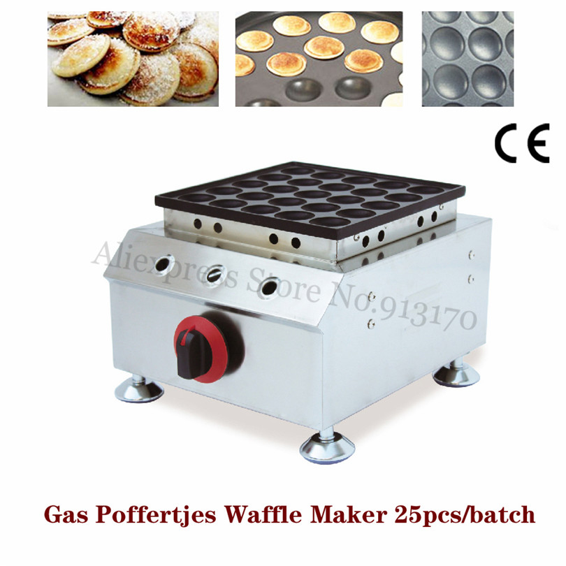 Stainless Steel Gas Poffertjes Grill Machine Mini Pancake Waffle Maker Non-stick Poffertjes Pan 25 Holes commercial gas crepe machine double pans non stick plate pancake griddle machine chinese jianbing grill stainless steel