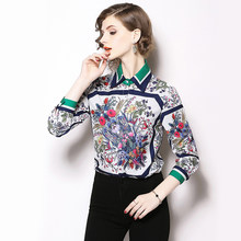 559d519afe THC Designer Runway Autumn Shirt Blouse Women Tops And Blouses 2019 High  Quality Floral Print Long Sleeve Shirts Blusa Feminina