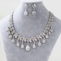 luxurious Free Shipping Teardrop Zircon Gemstone Crystal Wedding Bridal Jewelry Sets bride's Gilded Necklace Earrings Female