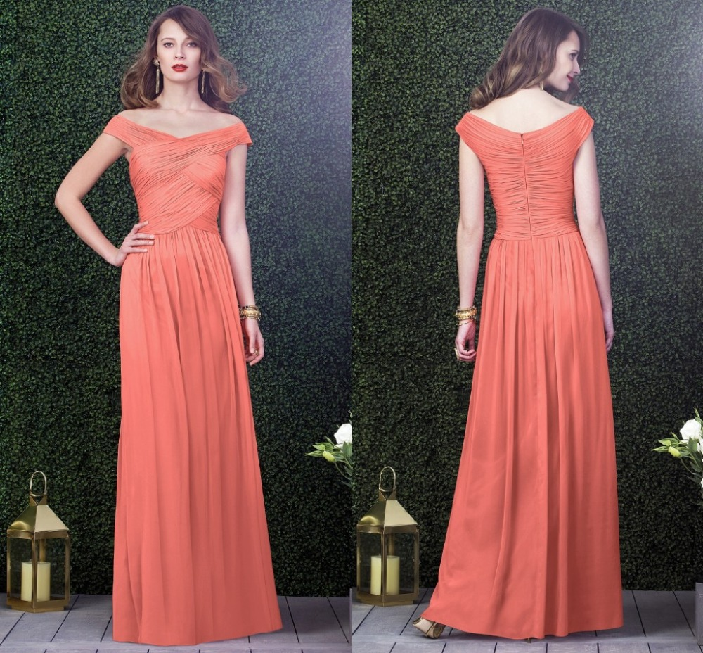 High Quality Coral Long Bridesmaid Dresses-Buy Cheap Coral Long ...