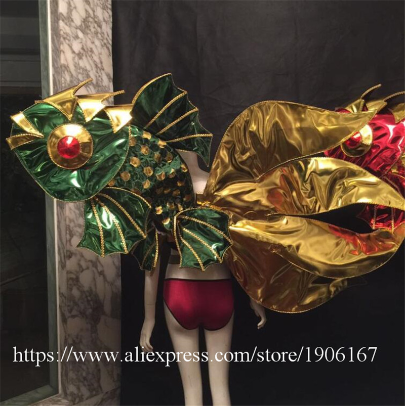 Victoria Catwalk Show Gold Plated Wings TVShow Eveing Dress Costumes Stage Performance Cosplay Women Clothes Party Supplies1