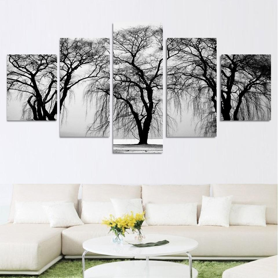 Fashion 5 pcs abstract tree landscape modern canvas for Modern black and white wall art