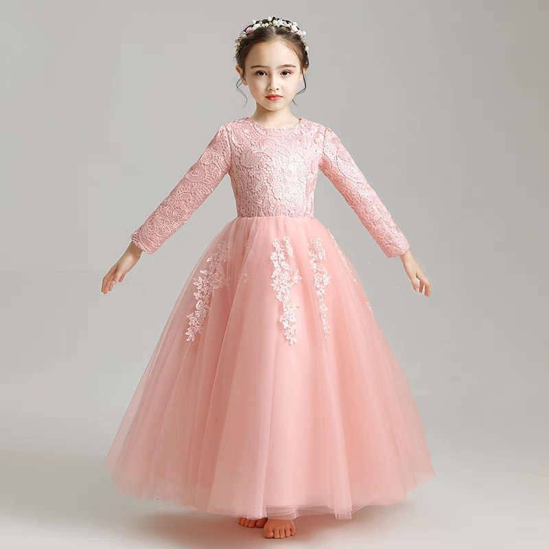 Sweet Pink Color Children Girls Embroidery Lace Birthday Wedding Party  Princess Dress For Autumn Winter Kids Piano Costume Dress