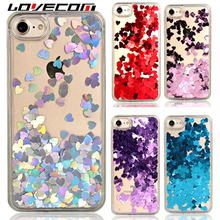 LOVECOM Liquid Glitter Quicksand Love Heart Foil For iPhone 6 6S 7 8 Plus X 5S Back Cover Transparent Soft TPU Side Phone Case(China)