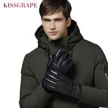2019 New Men Fur Gloves Male Winter Warm Sheep Leather Lovers Womens Outdoor Thick Manual Mittens Waterproof