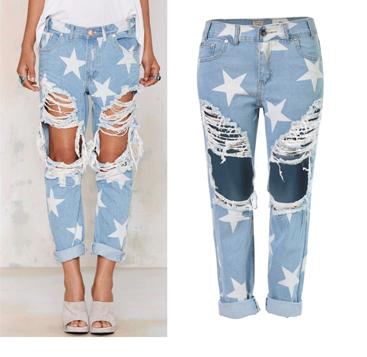 Fashion Women Plus Size Vintage boyfriend Holes Ripped Jeans Denim Blue White Trousers Female Woman Denim Women Pencil Pants