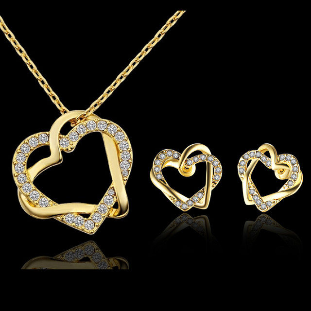 d47e9558a38 Ladies Jewellery Sets Necklace On The Neck With Rhinestones Dubai Gold  Color Heart Jewelry Set Earrings Bijoux Mariage S745-5