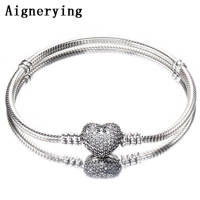 Bracelet 925 Sterling Silver Snake Chain With Pave Clear Heart Clasp Fit All European Charm Beads Christmas Jewelry supplyBracelet 925 Sterling Silver Snake Chain With Pave Clear Heart Clasp Fit All European Charm Beads Christmas Jewelry supply