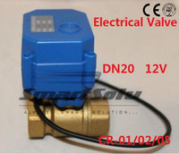 Free shipping 3/4 DN20 12V DC Brass ,2 way Electrical MINI Ball Valve CR 01 Wires electric automatic valve