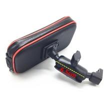 Funda impermeable con cremallera y Bola de 1 pulgada + brazo de doble toma de 6,5 cm para Bases de bola de 1 pulgada + soporte de espejo trasero para teléfonos inteligentes
