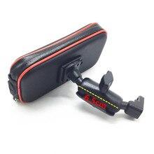 Wasserdichte Zipper Fall mit 1 zoll Ball + 6,5 cm Doppel Buchse Arm für 1 Zoll Ball Basen + hinten Spiegel Halterung für Smartphones