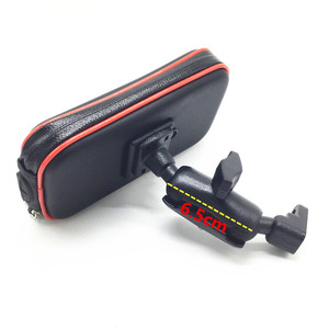 Image 1 - Wasserdichte Zipper Fall mit 1 zoll Ball + 6,5 cm Doppel Buchse Arm für 1 Zoll Ball Basen + hinten Spiegel Halterung für Smartphones