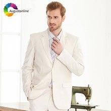 Beige/Ivory Men Suits Wedding Costume Homme Best Man Blazer Slim Fit Groom Tuxedo Jacket Pants 2 Piece Latest Coat Pant Designs
