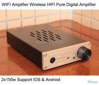 WIFI Inalámbrico Amplificador Estéreo 2X150 W HIFI Audio Amplificador Digital Pura Carcasa de Metal Control Remoto Adaptador de Corriente envío Gratis