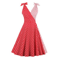 New Vintage Dress 1950s Summer Red Polka Dots Women Cute Party Dress Spaghetti Strap 2017 Female