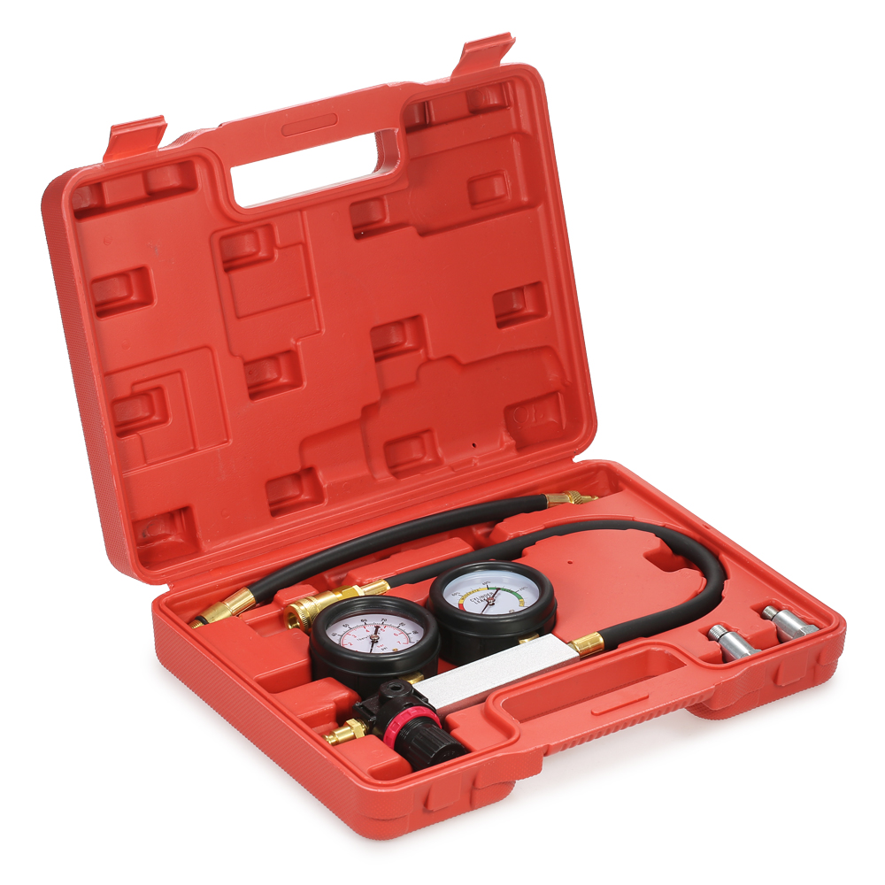 Auto Cylinder Leak Tester Compression Leakage Detector Pressure gauge sensor Barometer Tool Kit Set Double Gauge System &Case new engine cylinder pressure gauge compression tester diagnostic tool kit