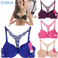 Women Bra Front Closure Sexy Lace Racer Y-line Straps Back Seamless Push Up Underwear Lingerie