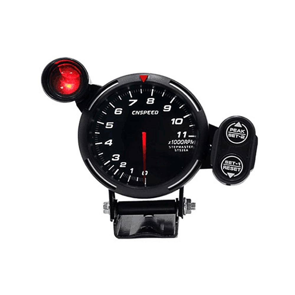 3 5 Tachometer Gauge Kit WHITE LED 11000 RPM Meter with Adjustable Shift Light Stepping Motor