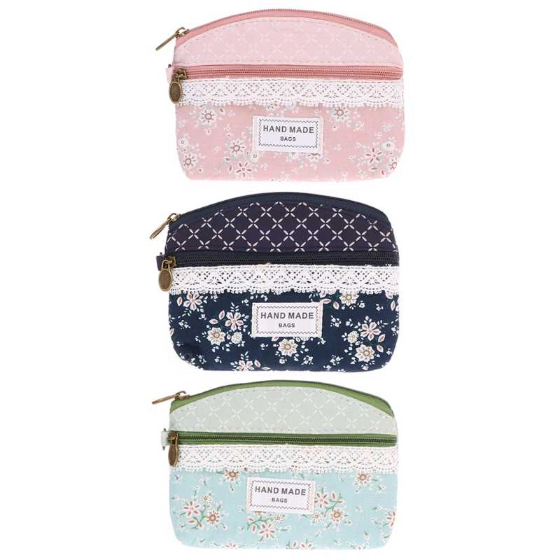 63b4bb60de6 Women Wallet Flower Canvas Coin Purse Clutch Zipper Key Card Holder Tote  Bags Mini Wallet Girls Coin Pouch