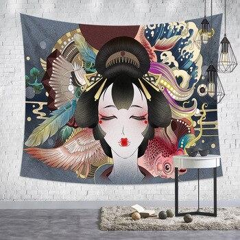 Japanese Tapestry Art Ukiyoshi Painting Ladies Geisha For Liquor House Sushi Shop Tatami Home Decorative Tapestry Wall Hanging 4
