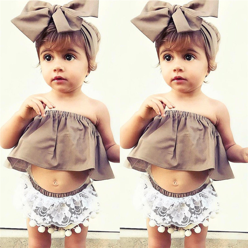 0 to 24M Newborn Baby Girls Clothes Sleeveless Off Shoulder Top T-Shirt+Shorts Pants+Headdress 3PCS Outfit Baby Clothing Set