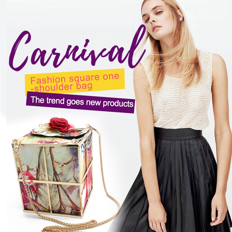 Womens Handbags Evening Clutch Bag Metal Cage Chains Travel Shoulder & Crossbody Messenger Bags Prom Wallet Coin Party Box Tote