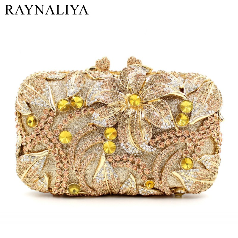 Multi Crystal Flowers Hollow Out Women Metal Evening Bag Bridal Wedding Party Cocktail Chain Shoulder Handbag Purse SMYZH-E0361