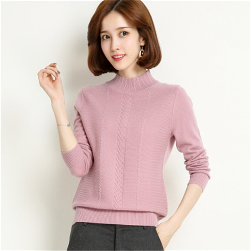 Couleur Grey brown Rose Pull Col Court Mince Style white Demi Pur pink Haut Chandail Laine Red S Femmes Solide Tricot Light l Coréen 4 Jacquard gwpP6a