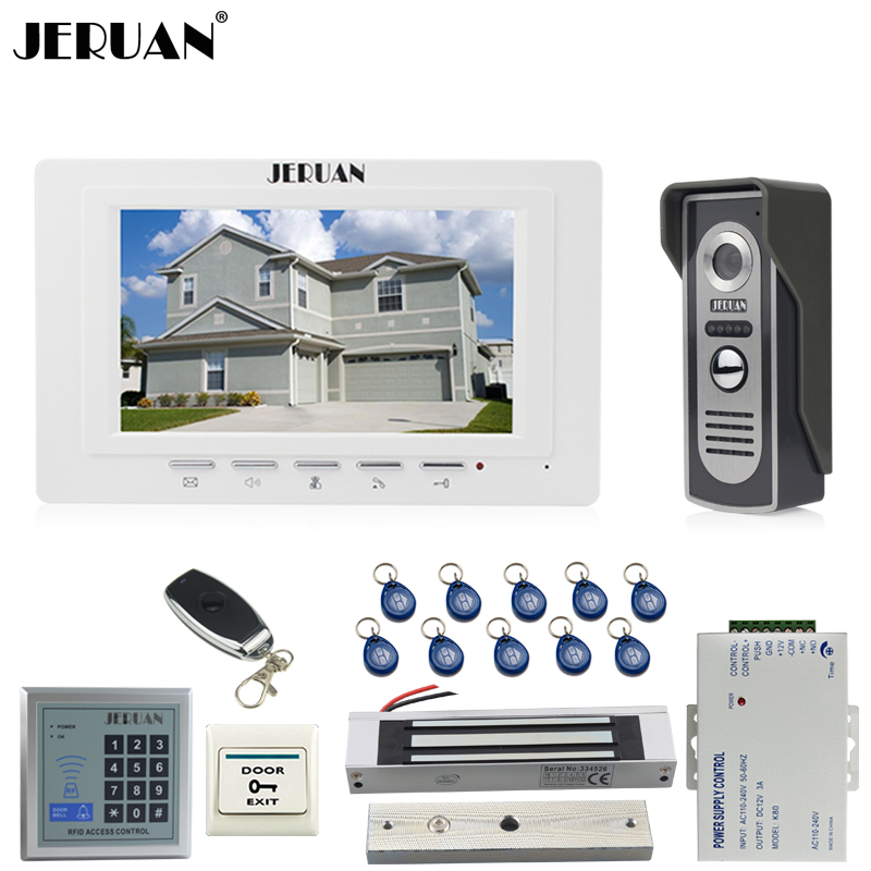 JERUAN Wired intercom Doorbell 7`` Video Door phone Intercom System kit 1 White Monitor 700TVL IR Camera RFID Access Control jeruan apartment 4 3 video door phone intercom system kit 2 monitor hd camera rfid entry access control 2 remote control